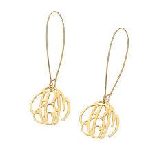 Gold Monogram Earrings Elizabeth Filigree Gold Monogram Dangle Earrings E609 U2013 Initials