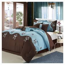 Blue And Brown Bed Sets Fabulous Blue Brown Comforter With Flowers Embroidery And