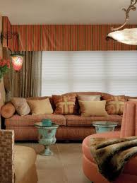 tranquil moroccan living room decor style with striped valances