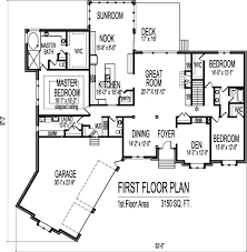 Amazing One Story House Plans With 3 Car Garage Contemporary Floor Plans With Garage