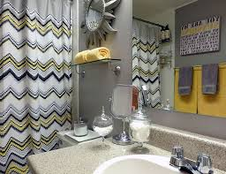 Mirror Curtain Bathroom Gray Bathroom With Yellow Towel Holder Also Chevron