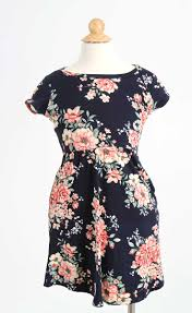 reb and j clothing floral midi dress for girls in navy