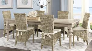 Cindy Crawford Home Key West Sand  Pc Rectangle Dining Room With - Wicker dining room chairs