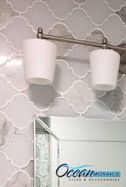 got to love this clover arabesque blanco mosaic glass tile
