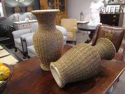 Large Wicker Vases A Large Pair Of Rattan Wrapped Ceramic Vases In Objects Art And Curios