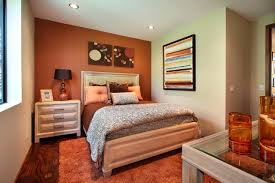 bedroom accent wall brown wall mounted beige rectangle platform