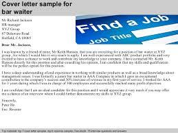 waitressing cover letter bar waiter cover letter