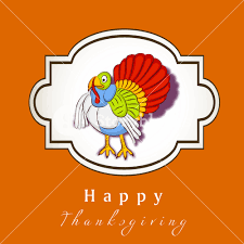 happy thanksgiving day concept with colorful turkey on orange