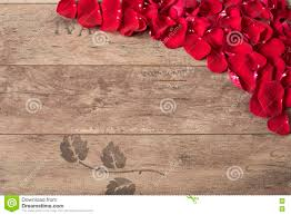 Wooden Table Top View Red Rose Petals On The Wooden Background Rose Petals Border On A