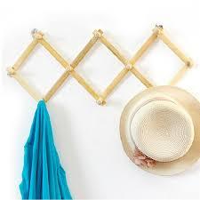 best expandable solid wooden coat hanger 10 peg keys hat towel