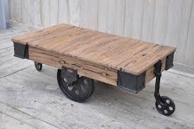 old railway sleeper industrial cart coffee table philbee interiors