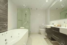 stylish twin bathroom with two sinks mirror shower toilet