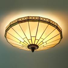 Flush Mounted Ceiling Lights by Green Mission Pattern 16 Inch Flush Mount Ceiling Light In Tiffany