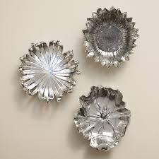 silver flowers silver wall flowers set of 3 12w x 12h in ea hayneedle