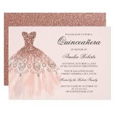 quinceanera invitations gold sparkle dress quinceanera invitation zazzle
