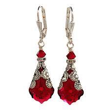 vintage earrings ruby baroque cut vintage earrings with from swarovski