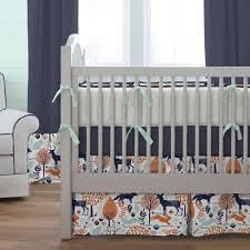 woodland animals baby bedding navy and orange woodland animals crib skirt box pleat carousel