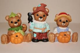 home interior bears homco teddy figurines scarecrow pumpkin 1994 set of