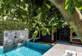 inground pools for small backyards with modern water fountain