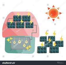 Cute House by Vector Illustration Cute House Solar Panel Stock Vector 566052712