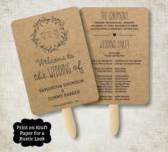 paper fan wedding programs vintage wedding program fan template rustic kraft classic wreath
