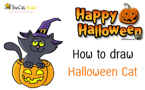 how to draw a cartoon cat with halloween pumpkin very cute and