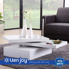 White Coffee Table Rotating Table Ebay