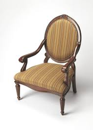 Patterned Living Room Chairs Chairs Brown Wooden Chair With Arm Using Round Back Having