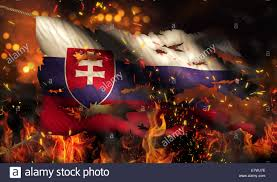 Burning Red Flag Slovakia Burning Fire Flag War Conflict Night 3d Stock Photo