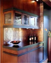 outstanding copper tile backsplash with wood ceiling beams beige