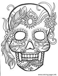 sugar skull flower coloring pages printable
