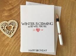 of thrones birthday card personalised birthday card of thrones winter is coming stark ebay