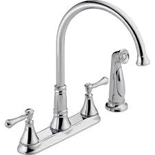 delta single handle kitchen faucet delta cassidy 2 handle standard kitchen faucet with side sprayer