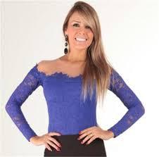 s blouse sml lace the shoulder slim fit t shirt tops
