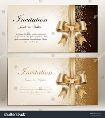 Golden Wedding Invitation Cards Tow Pretty Wedding Invitation Golden Ribbon Stock Vector 259096550