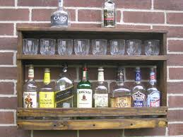 reclaimed wood wall cabinet exposed brick wall and rustic diy reclaimed wood floating liquor