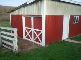 Sliding Horse Barn Doors by Building Red Barn Doors With The