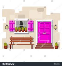 Pink Brick Wall Pink Front Door Window On Brick Stock Vector 605905571 Shutterstock