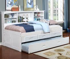 Bed With Bookshelf Headboard Kids Furniture White Twin Size Bookcase Captains Day Bed With