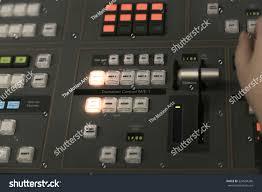 tv studio desk tv editor working audio video mixer stock photo 524594266