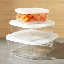 Food Storage Container Sets - 3 piece glass storage container set crate and barrel