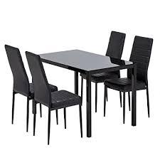 Amazoncom  Mecor Glass Dining Table Set 5 Piece Kitchen Table Set