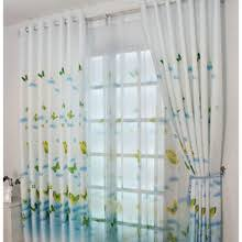 Blue Butterfly Curtains White Country Curtains