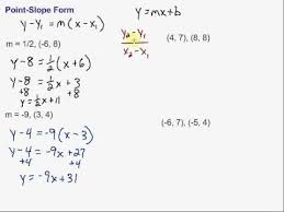 writing equations in point slope form youtube