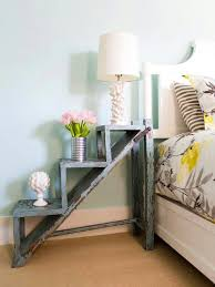 beautiful wooden side table idea with unique staircase theme design