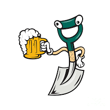 funny beer cartoon shovel holding beer mug cartoon digital art by aloysius patrimonio