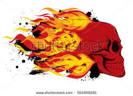 flaming skull stock images royalty free images vectors