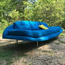 vintage adrian pearsall craft associates blue gondola sofa daybed