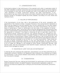 15 free subcontractor agreement templates word pdf doc formats