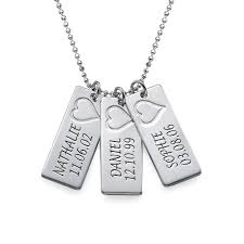 necklace with names engraved bar necklace in silver